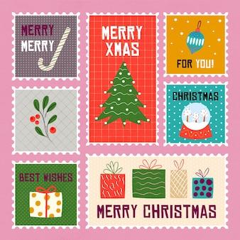 Ręcznie rysowane znaczki świąteczne