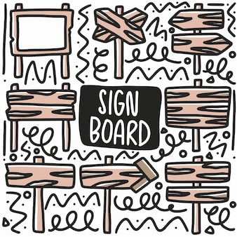 Ręcznie rysowane znak deska doodle zestaw z ikonami i elementami projektu