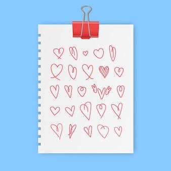 Ręcznie rysowane znak serca symbole miłości zestaw ilustracji doodle ikona miłości