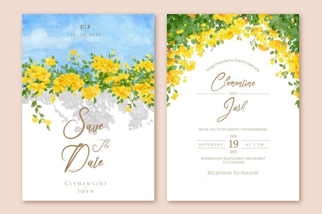 Ręcznie rysowane żółty kwiat bugenwilli kwiat zaproszenie na ślub szablon zestawu
