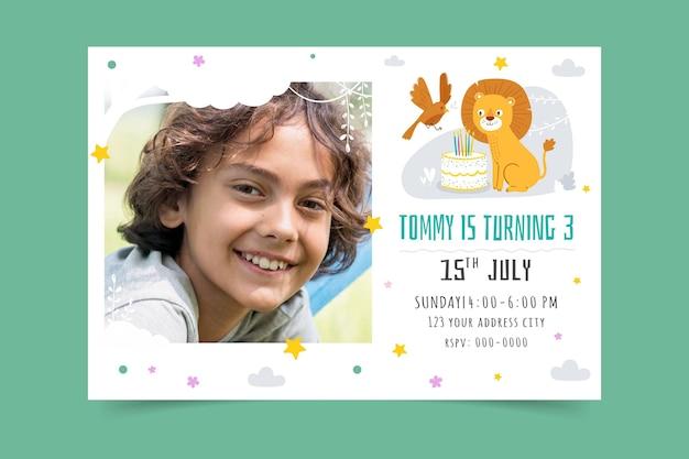 Ręcznie rysowane zwierząt szablon zaproszenia urodzinowe ze zdjęciem