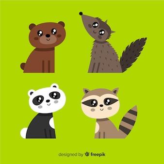 Ręcznie rysowane zwierzęce opakowanie kawaii