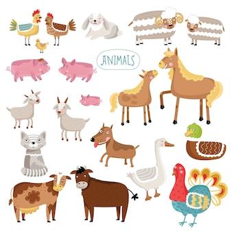 Ręcznie rysowane zwierzęta gospodarskie.