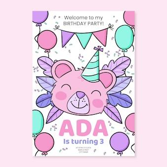 Ręcznie rysowane zwierzęta urodziny zaproszenie