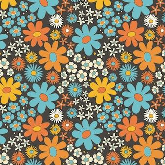Ręcznie rysowane żywy groovy kwiatowy wzór