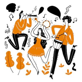 Ręcznie rysowanie muzyków grających muzykę.