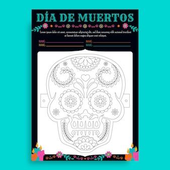 Ręcznie rysowany arkusz maski dia de muertos