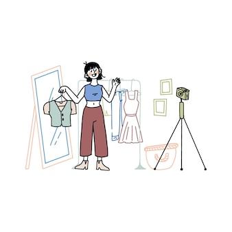 Ręcznie rysowany bloger w stylu