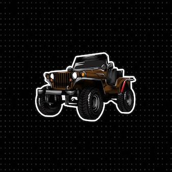 Ręcznie rysowany klasyczny samochód jeepowy