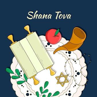Ręcznie rysowany motyw shana tova