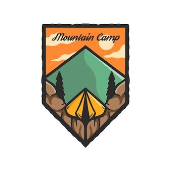 Ręcznie rysowany namiot kempingowy górski