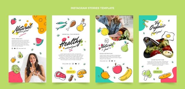 Ręcznie rysowany pakiet artykułów spożywczych na instagramie