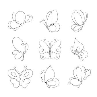 Ręcznie rysowany pakiet konturowy motyla