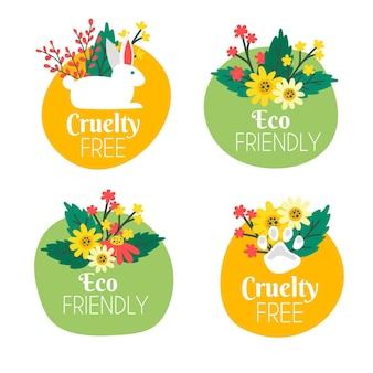 Ręcznie rysowany pakiet odznak cruelty free