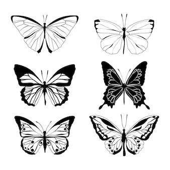 Ręcznie rysowany pakiet zarysów motyli