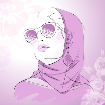 Ręcznie rysowany portret kobiety projekt
