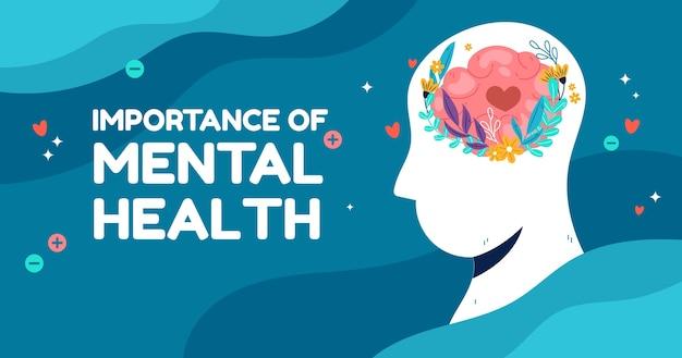 Ręcznie rysowany post na facebooku dotyczący zdrowia psychicznego