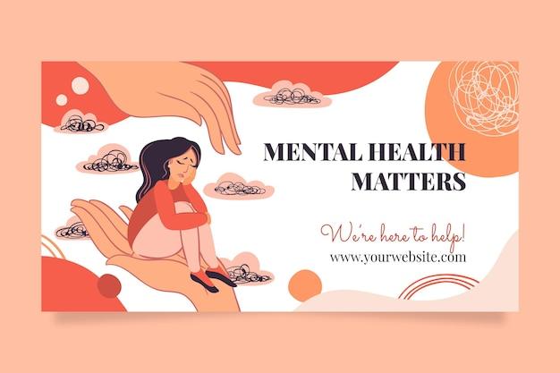Ręcznie Rysowany Post Na Facebooku Dotyczący Zdrowia Psychicznego Darmowych Wektorów