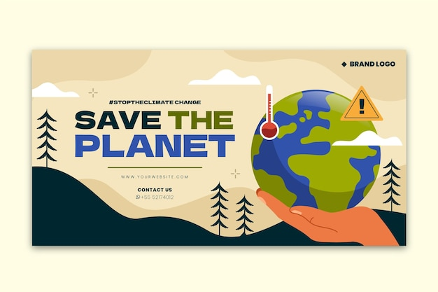 Ręcznie rysowany post na facebooku dotyczący zmian klimatu