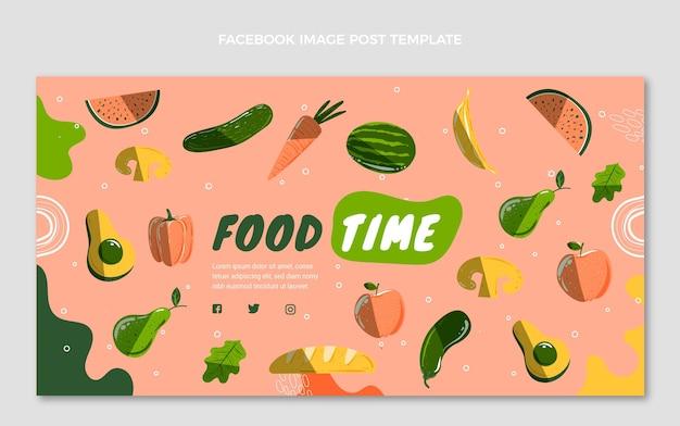 Ręcznie rysowany post na facebooku z jedzeniem