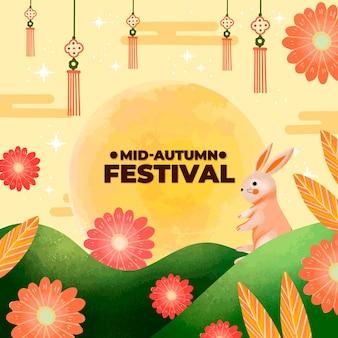 Ręcznie rysowany styl festiwalu w połowie jesieni