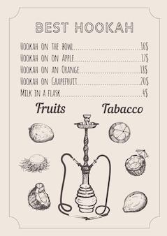 Ręcznie rysowany styl menu fajki wodnej