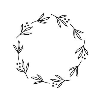 Ręcznie rysowany wieniec z kropkami na ozdoby świąteczne lub kartki