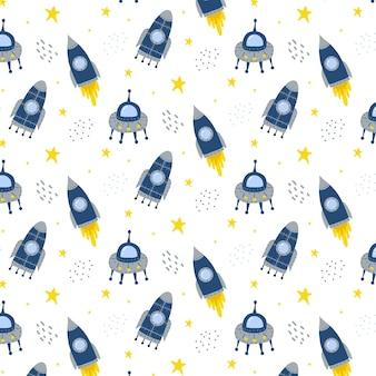 Ręcznie rysowany wzór dla dzieci z rakietą i latającym spodkiem