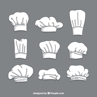 Ręcznie rysowany zbiór dziewięciu szef kuchni kapelusze