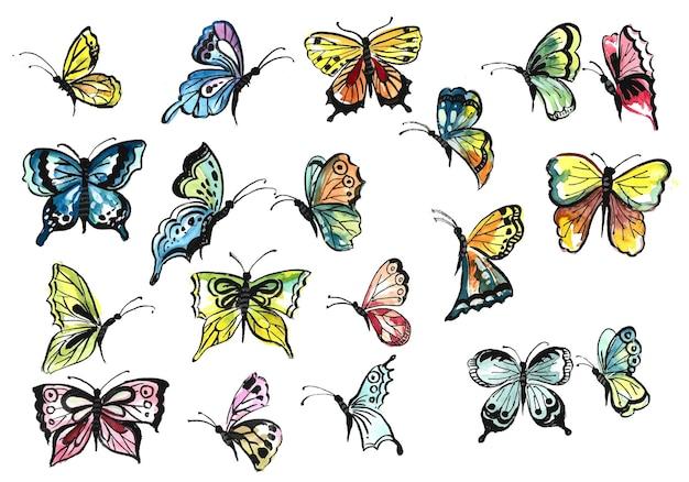 Ręcznie rysuj kolekcję ładnych kolorowych motyli akwarelowych