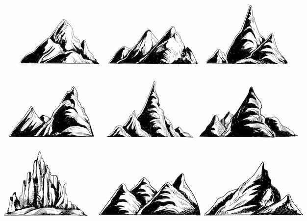 Ręcznie rysuj monochromatyczne góry zestaw szkicu