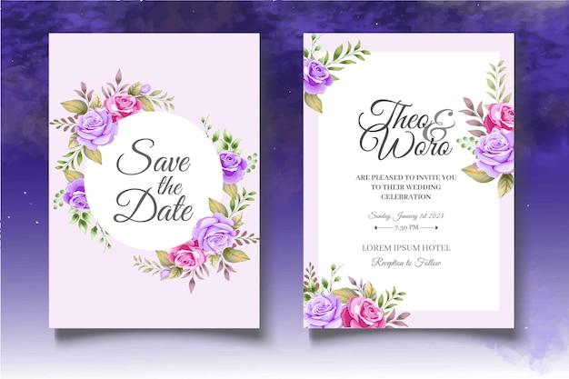 Ręcznie rysunek kwiatowy zestaw szablonów ślubnych