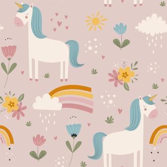 Ręcznie rysunek ładny jednorożec i kwiaty bezszwowe nadruk projekt ilustracji wektorowych dla mody