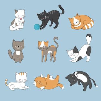 Ręcznie rysunek słodkie koty. kolekcja kotek
