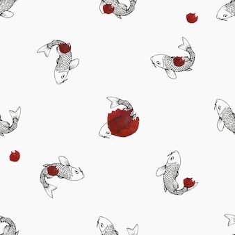 Ręcznie utopiony wzór ryb koi