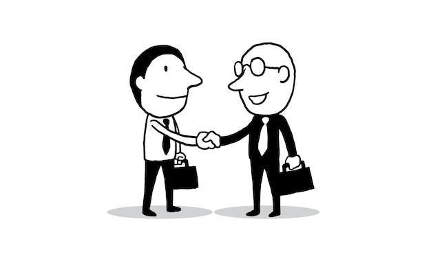 Ręcznie Wstrząsnąć Z Dwoma Biznesmenem Premium Wektorów