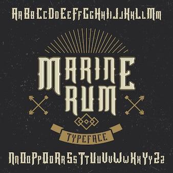 """Ręcznie wykonana czcionka """"marine rum"""" z kotwicą i dekoracją"""