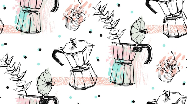 Ręcznie wykonane streszczenie teksturowanej wektor wzór koncepcji kawy z ekspresem do kawy gejzer