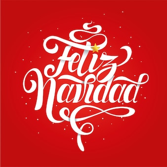Ręcznie wykonany napis na boże narodzenie z napisem wesołych świąt w języku hiszpańskim na czerwonym tle.