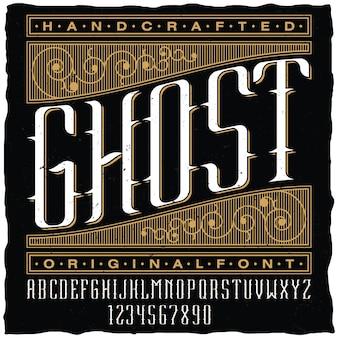 Ręcznie wykonany plakat z duchem z oryginalną czcionką etykiety na czarnym tle