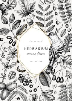 Ręcznie zarysowane jesień karta. elegancki szablon botaniczny z jesiennymi liśćmi, jagodami, nasionami i szkicami ptaków. idealne na zaproszenia, kartki okolicznościowe, ulotki, menu, etykiety, opakowania.
