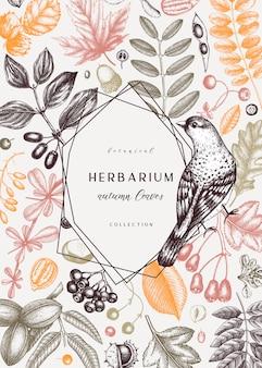 Ręcznie zarysowane jesienne karty w kolorze. elegancki szablon botaniczny z jesiennymi liśćmi, jagodami, nasionami i szkicami ptaków. idealne na zaproszenia, kartki, ulotki, menu, etykiety, opakowania.