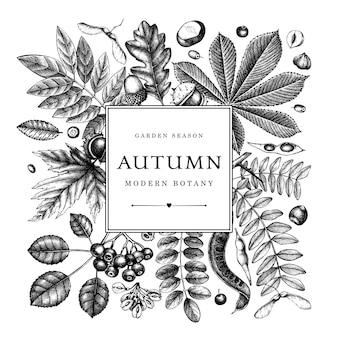 Ręcznie zarysowane jesienne liście. elegancki szablon botaniczny z jesiennymi liśćmi, jagodami, nasionami, szkicami roślin leśnych. idealne na zaproszenia, kartki okolicznościowe, ulotki, menu, etykiety, opakowania.