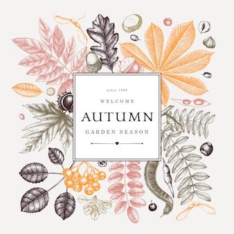 Ręcznie zarysowane jesienne liście ramki w kolorze. elegancki szablon botaniczny z szkicami jesiennych liści, jagód, nasion. idealne na zaproszenia, kartki okolicznościowe, ulotki, menu, etykiety, opakowania.