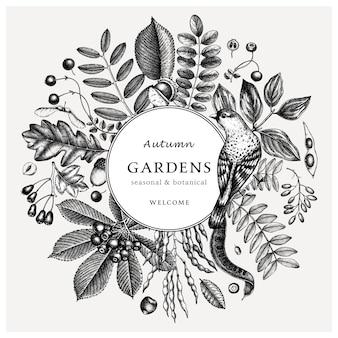 Ręcznie zarysowane jesienne liście retro. elegancki i modny szablon botaniczny z jesiennymi liśćmi, jagodami, nasionami i szkicami ptaków. idealne na zaproszenia, kartki, ulotki, menu, etykiety, opakowania.