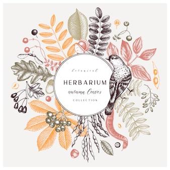 Ręcznie zarysowane jesienne liście w kolorze. elegancki i modny szablon botaniczny z jesiennymi liśćmi, jagodami, nasionami i szkicami ptaków. idealne na zaproszenia, kartki, ulotki, menu, etykiety, opakowania.