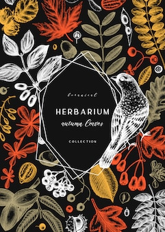 Ręcznie zarysowane jesienne liście w kolorze. elegancki szablon botaniczny z jesiennymi liśćmi, jagodami, nasionami i szkicami ptaków. idealne na zaproszenia, kartki, ulotki, menu, etykiety, opakowania.
