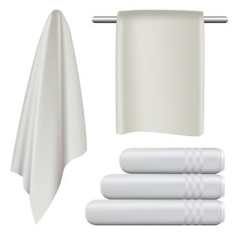 Ręcznik wisi makieta zestaw kąpielowy