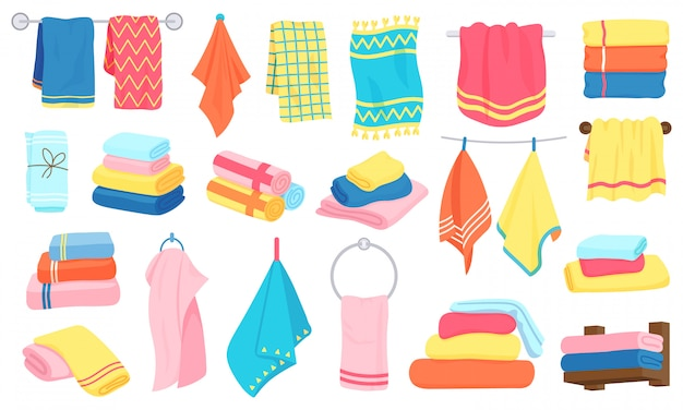Ręczniki tekstylne. ręczniki kąpielowe, kuchenne, rolowane i wiszące. zestaw ikon ilustracji włókienniczych bawełnianych puszystych łazienka. ręcznik bawełniany łazienkowy, tekstylny hotel i plaża