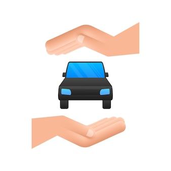 Ręczny samochód, świetny design do dowolnych celów. ilustracja kreskówka wektor.